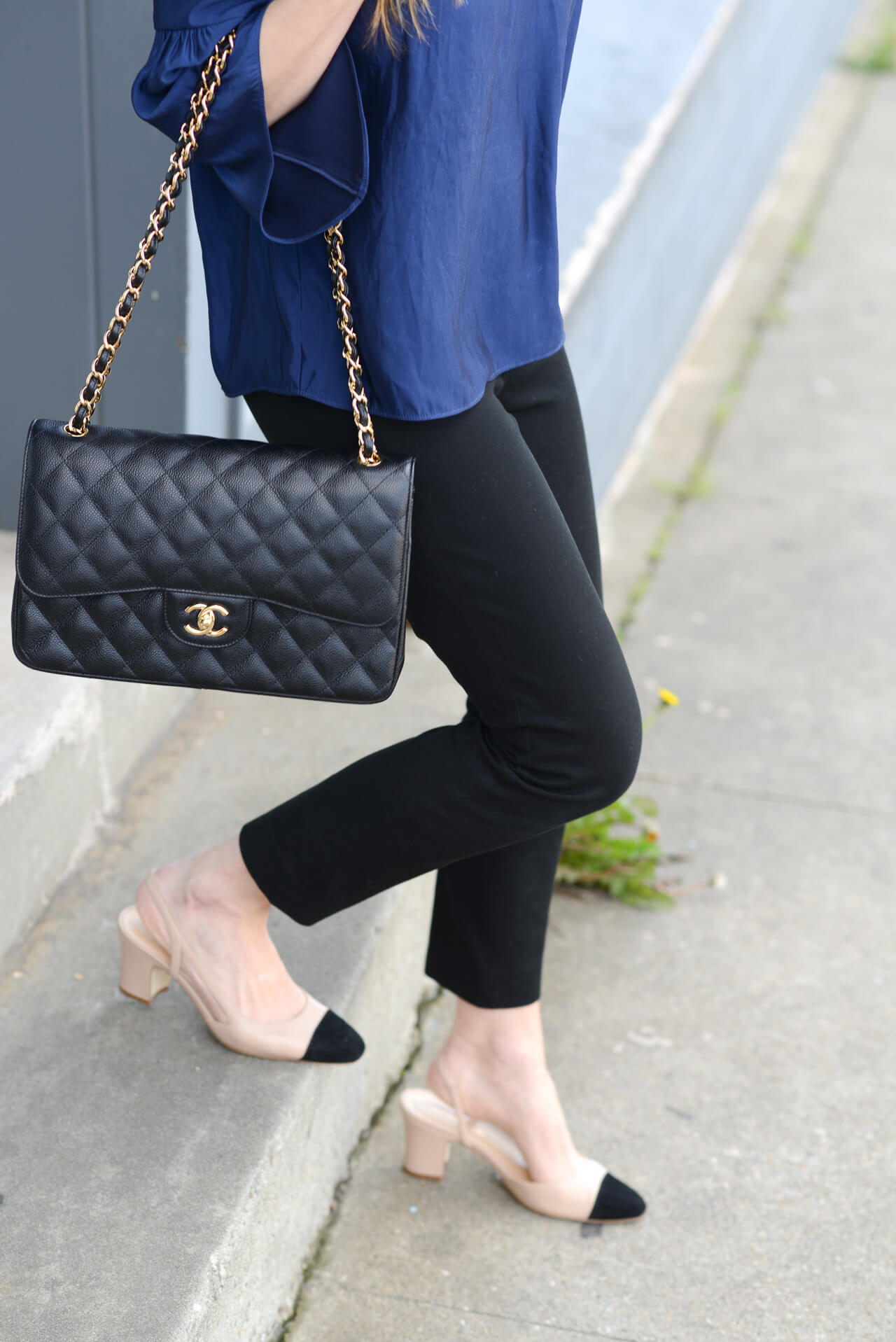 classic chanel bag with two-tone heels
