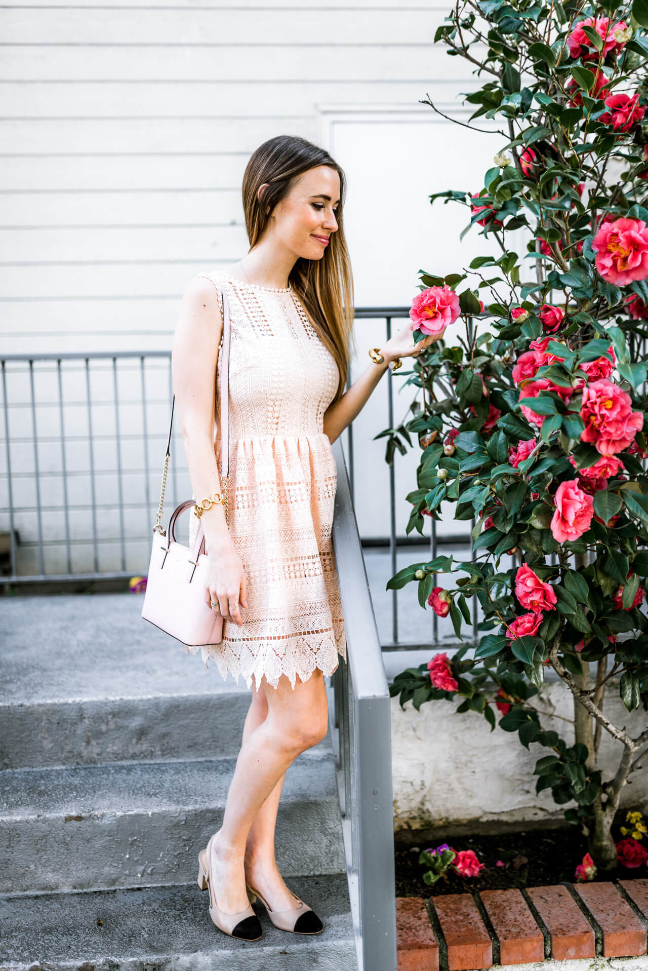 feminine outfit for spring - pink lace dress