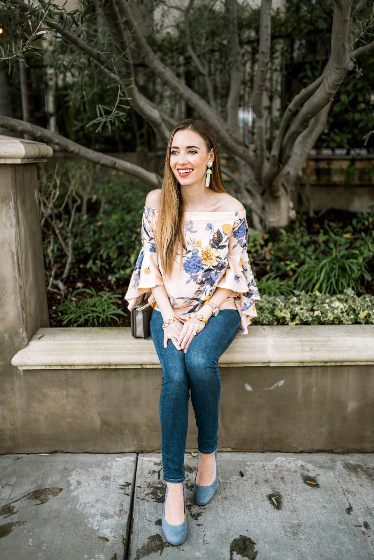 pink floral off the shoulder top with bell sleeves- so cute for spring!