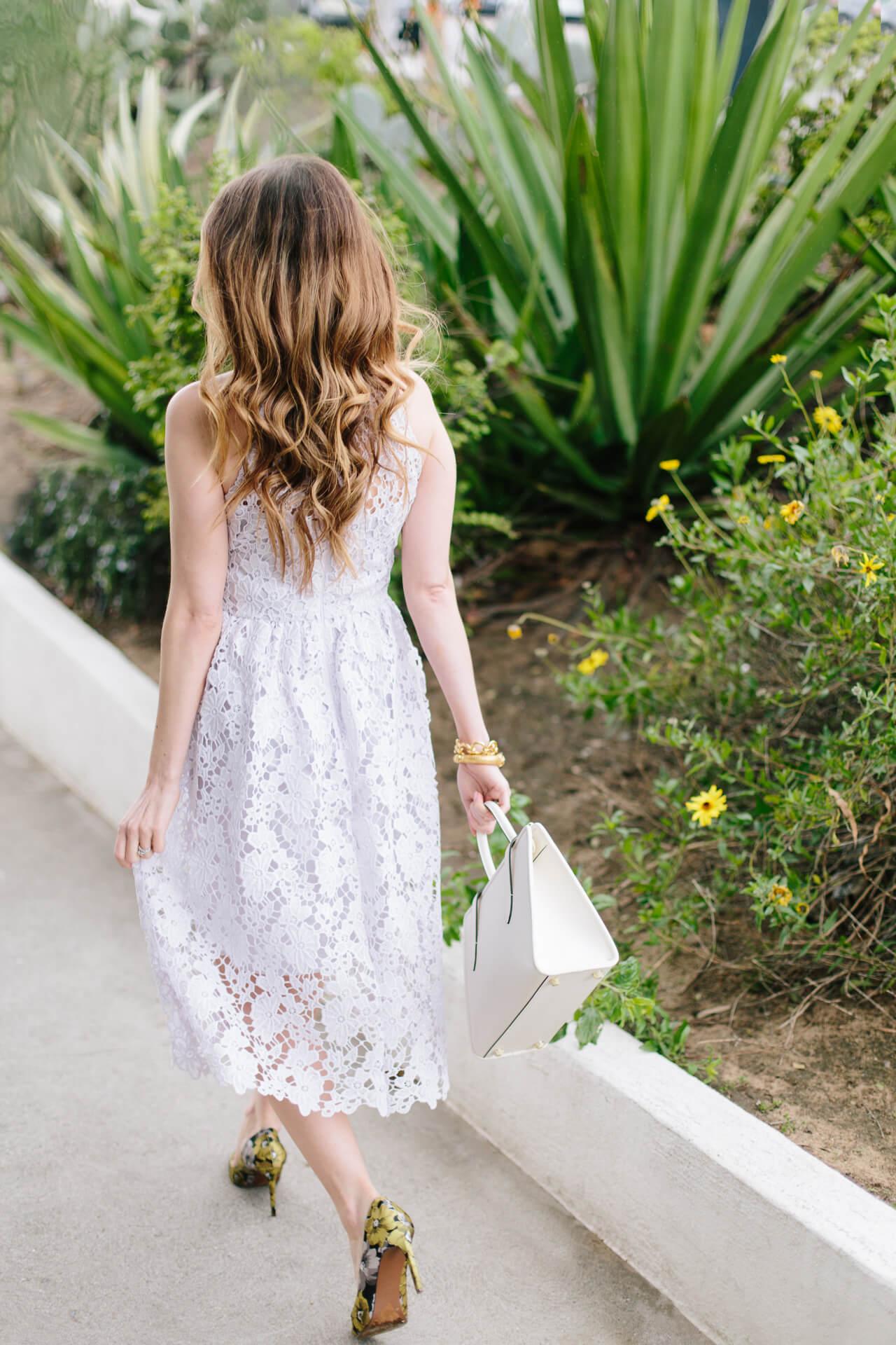 a pretty lavender lace midi dress