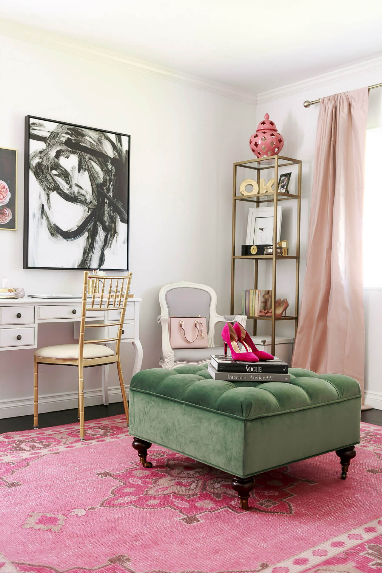 a feminine pink and green office