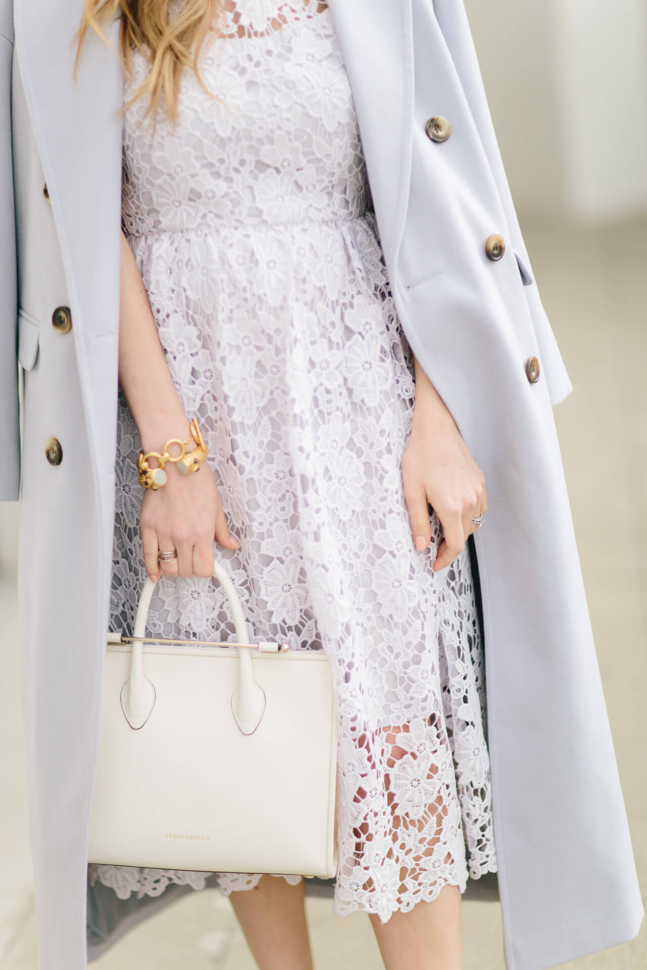 lace dress with strathberry midi tote
