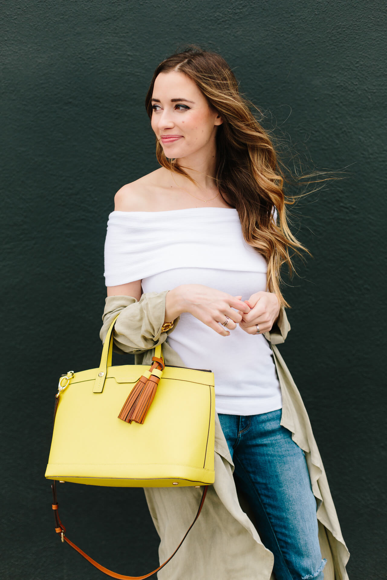 white sweater with jeans and yellow bag