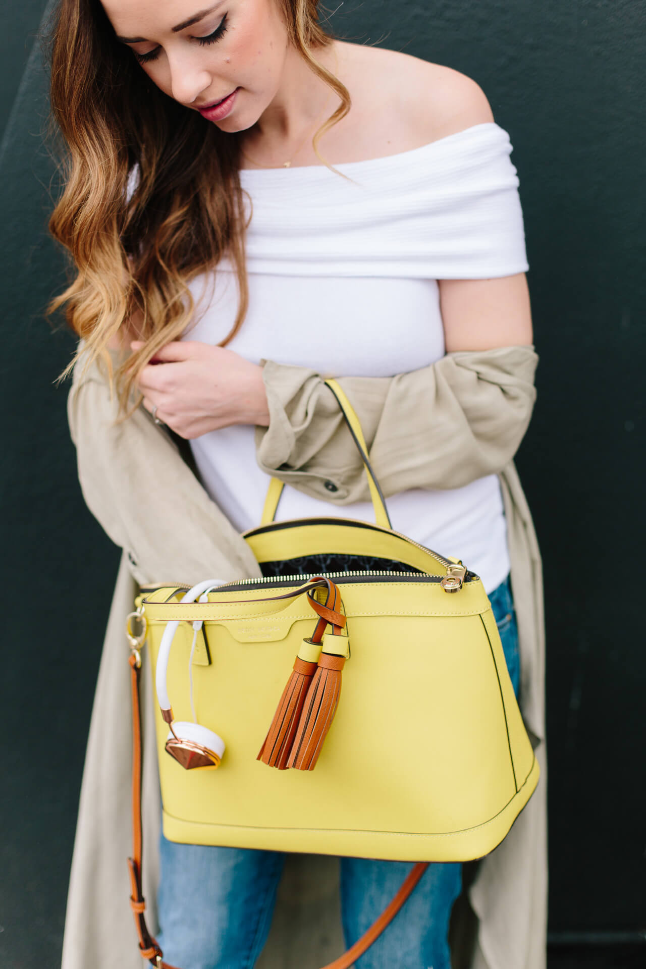 love this yellow satchel with the off the shoulder sweater top