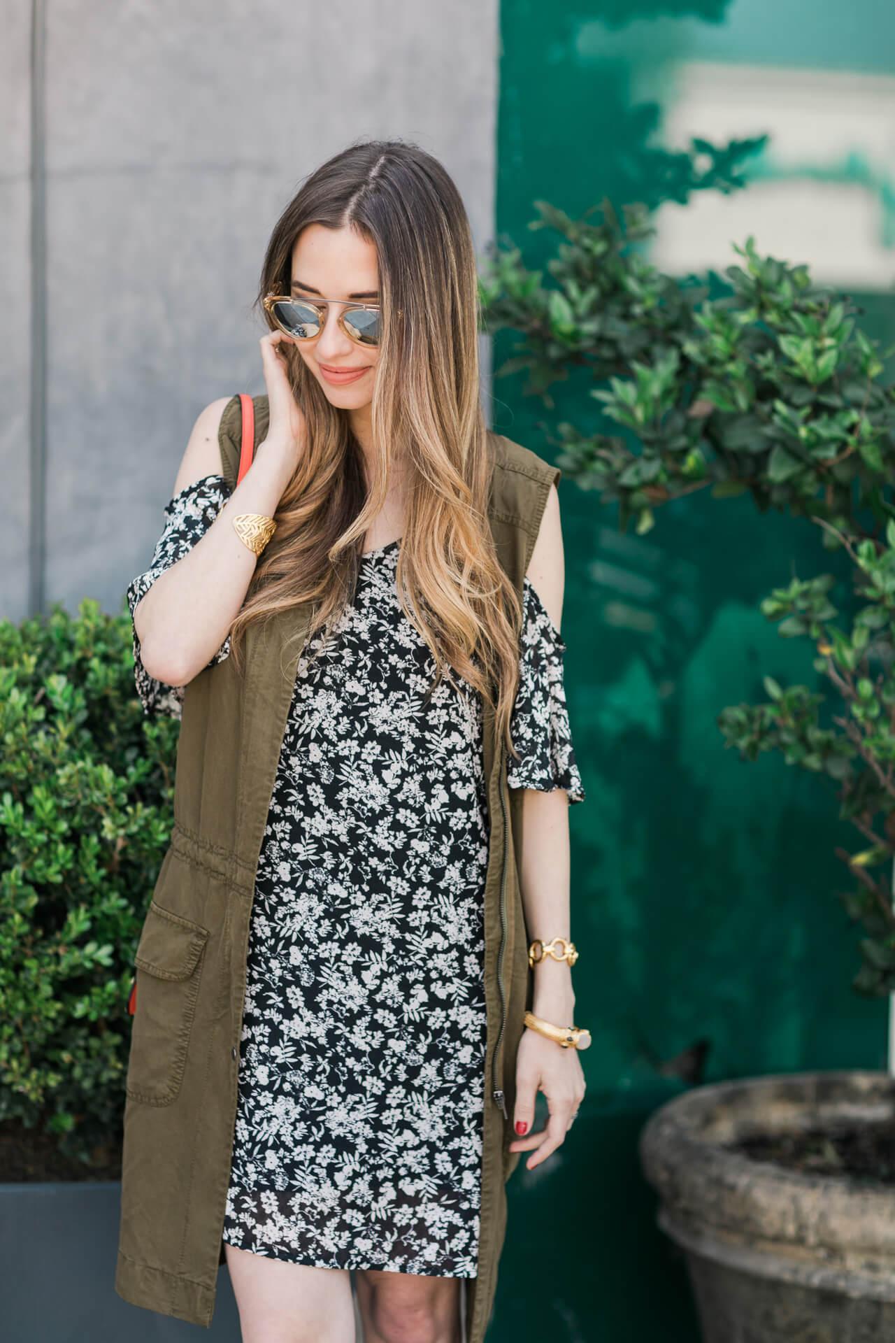 styling a floral cold shoulder dress