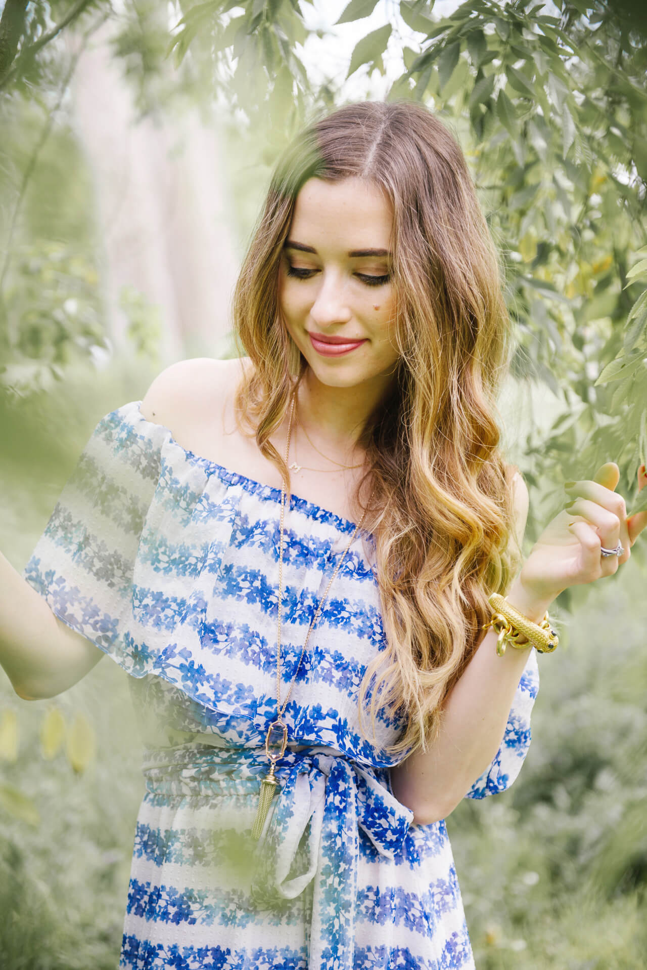 blue floral maxi dress for spring