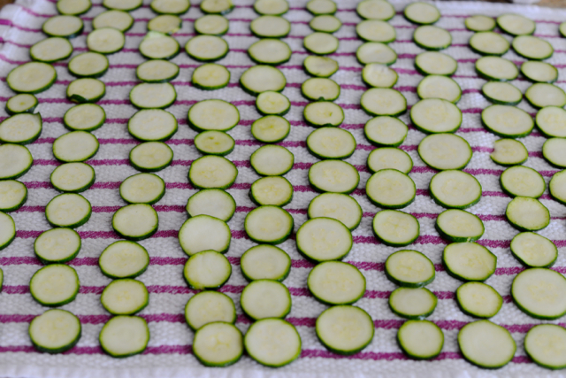 sweating zucchini for zucchini and goat cheese tart recipe M Loves M @marmar