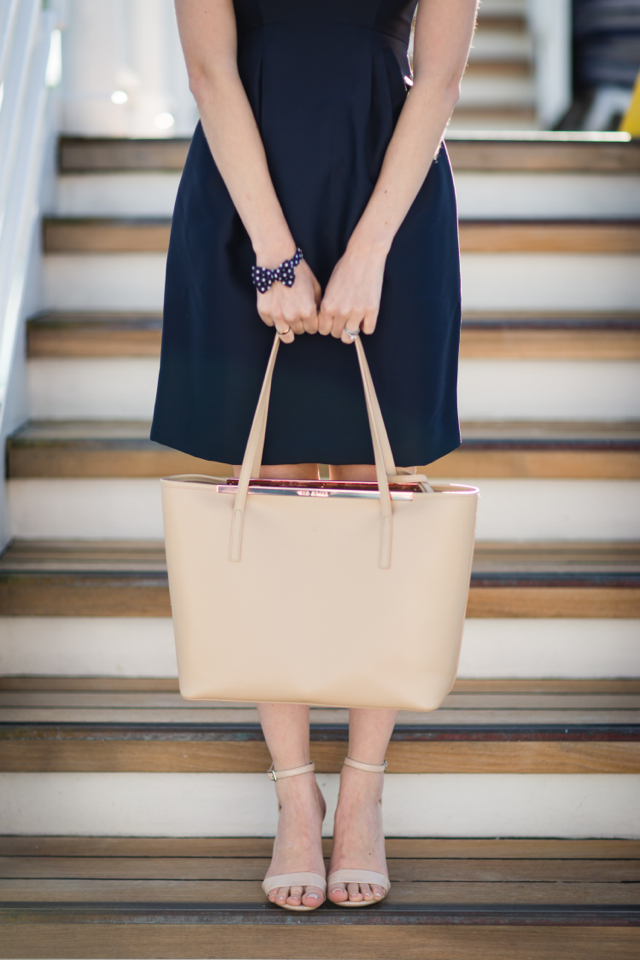 navy dress with nude tote M Loves M @marmar