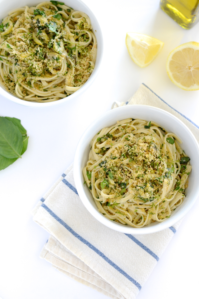 Linguine with Green Olive Sauce and Zesty Breadcrumbs Recipe M Loves M @marmar