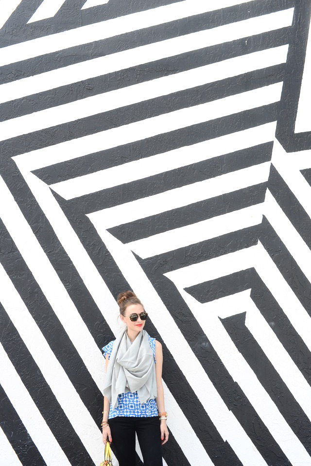 striped art deco wall in Miami Wynwood Walls M Loves M