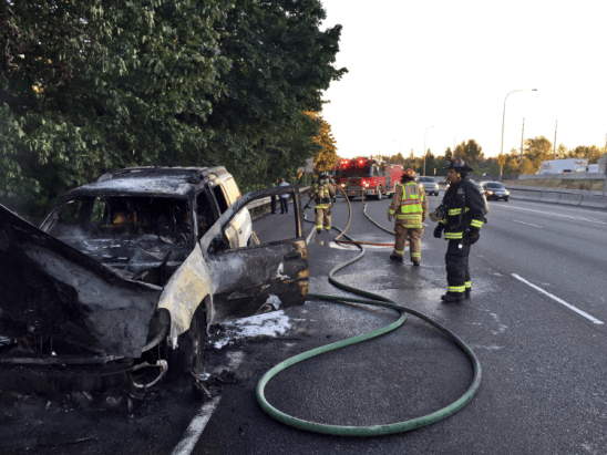 A car caught fire Sunday afternoon on I-5 in the area of the I-405 interchange. No one was injured. (Photo courtesy Lynnwood Fire)
