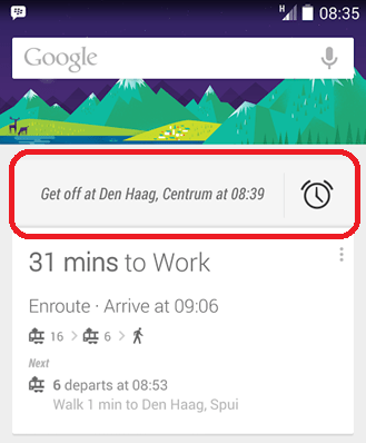 Google Now acorda o utilizador antes da sua paragem nos transportes públicos