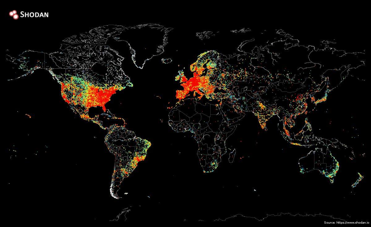 Mapa de utilizadores ligados à internet no Mundo