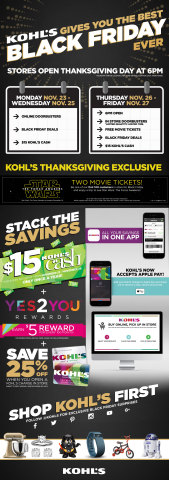 Kohl's 'Best Black Friday Ever' event kicks off at Kohl's stores nationwide with exclusive Black Friday deals and Doorbusters beginning at 6 p.m.* on November 26. (Graphic: Business Wire)