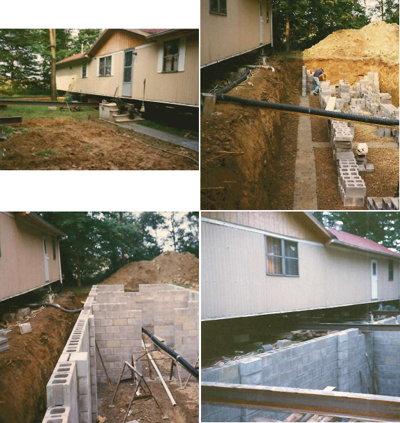 Basement construction for manufactured home for Basement construction