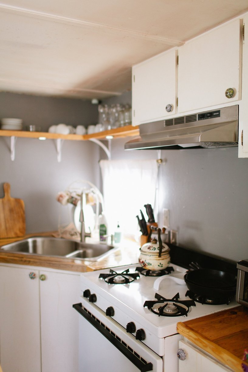 modern kitchen in mobile home