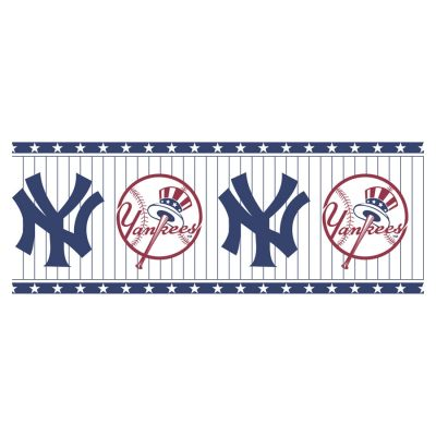 Allen + roth Blue and White N.Y. Yankees Wallpaper Border ...