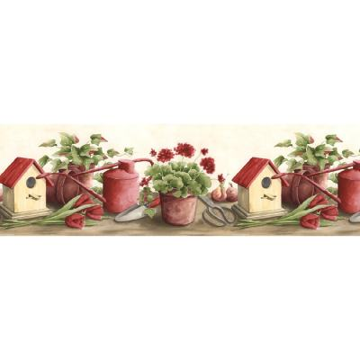 Shop Norwall 9.5-in Red Prepasted Wallpaper Border at Lowes.com
