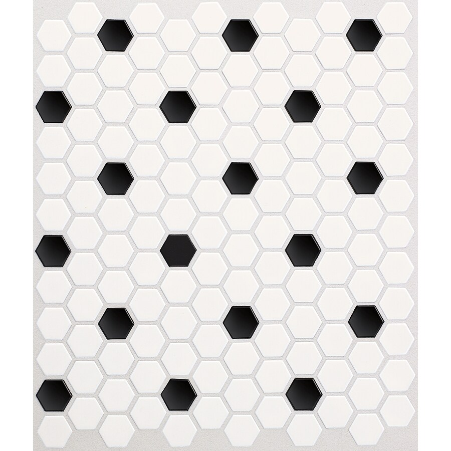 Modish Black Dot Honeycombmosaic Ceramic Shop American Olean Satinglo Hex Ice American Olean Satinglo Hex Ice Black Dot Black Tile Black Tile Wallpaper houzz 01 Black And White Tile
