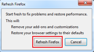 get rif of ads by firefox confirm reset