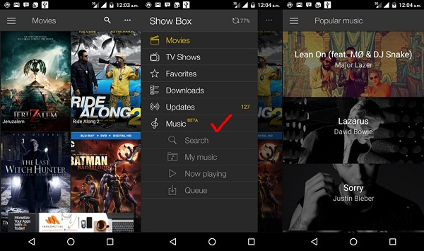 Hurray!! ShowBox now supports Music!!