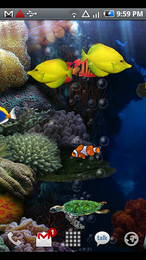 Aquarium para Android baixar grátis. O papel de parede animado Aquário de Android.