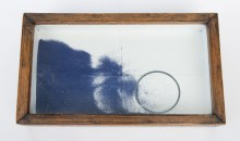 Untitled, 1948Construction with wood, blue sand, metal ring, ball bearings, glass and varnished paper from French literature book on exteriors, 8 1/2 x 14 1/4 x 1 7/8 inches (21.59 x 36.2 x 4.76 cm)Promised gift of Rosalind Jacobs