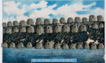The Palisades, Hudson River, NY, 1975Kneaded erasers on postcard, 15 1/2 x 17 3/4 x 2 inches (39.37 x 45.09 x 5.08 cm)Gift of Joan and Roger Sonnabend