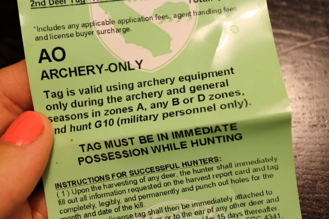 A California Archery-Only tag.
