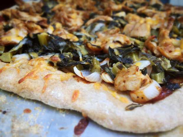 BBQ Chicken and Collard Green Pizza
