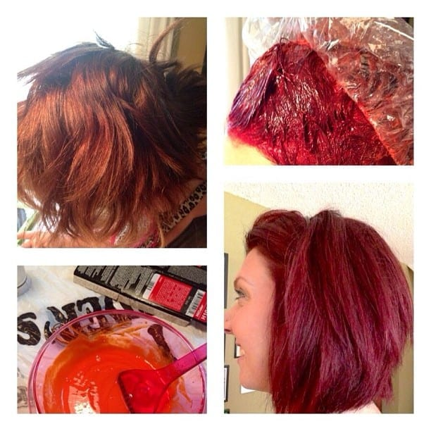 In the process of writing a DIY on bold, red hair. Going from brown to bright red with NO pre-lightening. This is one of our editors, Megan.