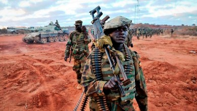 Ugandan soldiers, operating under the African Union Mission in Somalia (AMISOM), advanced towards Buurhkaba from their former position in the town of Leego alongside members of the Somali National Army (SNA). The purpose of such an advance is to eventually open up the road from Mogadishu to Baidoa and connect the two citys currently under AMISOM's control. AU UN IST PHOTO / TOBIN JONES.