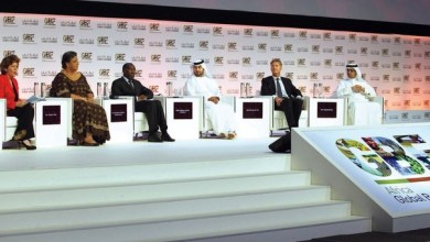 Eithne Treanor (L) Hannah Tetteh, Raymond Tshibanda Ntugamulongo, Sheikh Maktoum Hasher Al Maktoum, Giel Jan Van Der Tol and Hamad Buamim at the African Business Forum 2013 in Madinat Jumeirah Hotel Dubai, May 2, 2013.  Photo By Imran Khalid