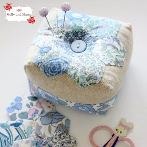 Boxed hexie pin cushion by Molly and Mama