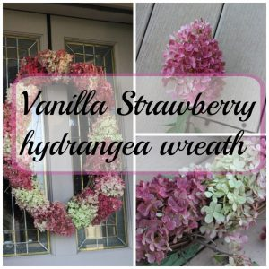 Vanilla Strawberry hydrangea wreath.  So easy to do.  These hydrangeas dry so easily and look so pretty!
