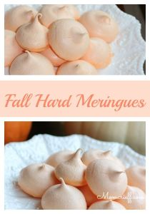 Fall hard meringues. Easy to make! These crunchy, melt in your mouth meringues are wonderful with your coffee, as dessert or for a treat.
