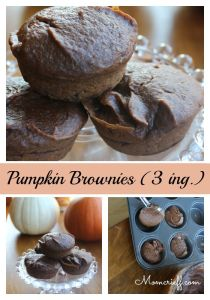 Pumpkin Brownies. Just three ingredients! When you need your afternoon chocolate fix but still want to be a little healthy. Has a whole can of pumpkin in it!