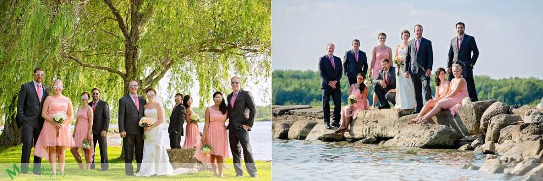 Outdoor Cornwall Wedding - wedding party sitting on rocks by river