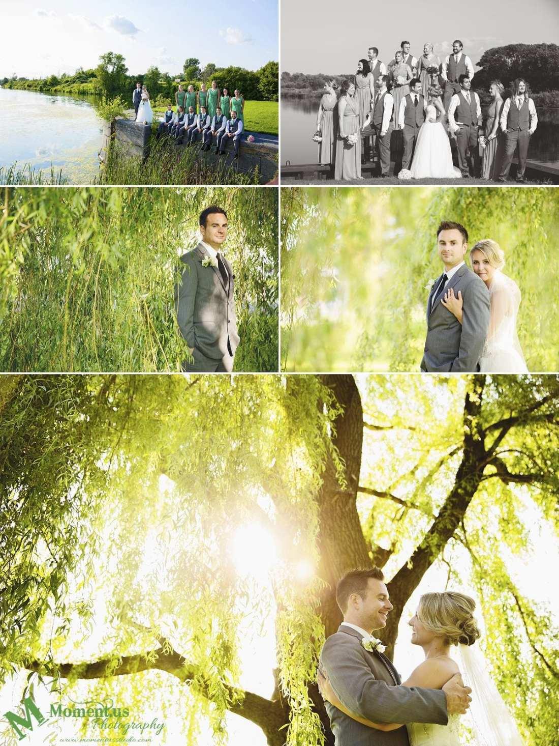 Elegant Cornwall wedding - wedding party on canal