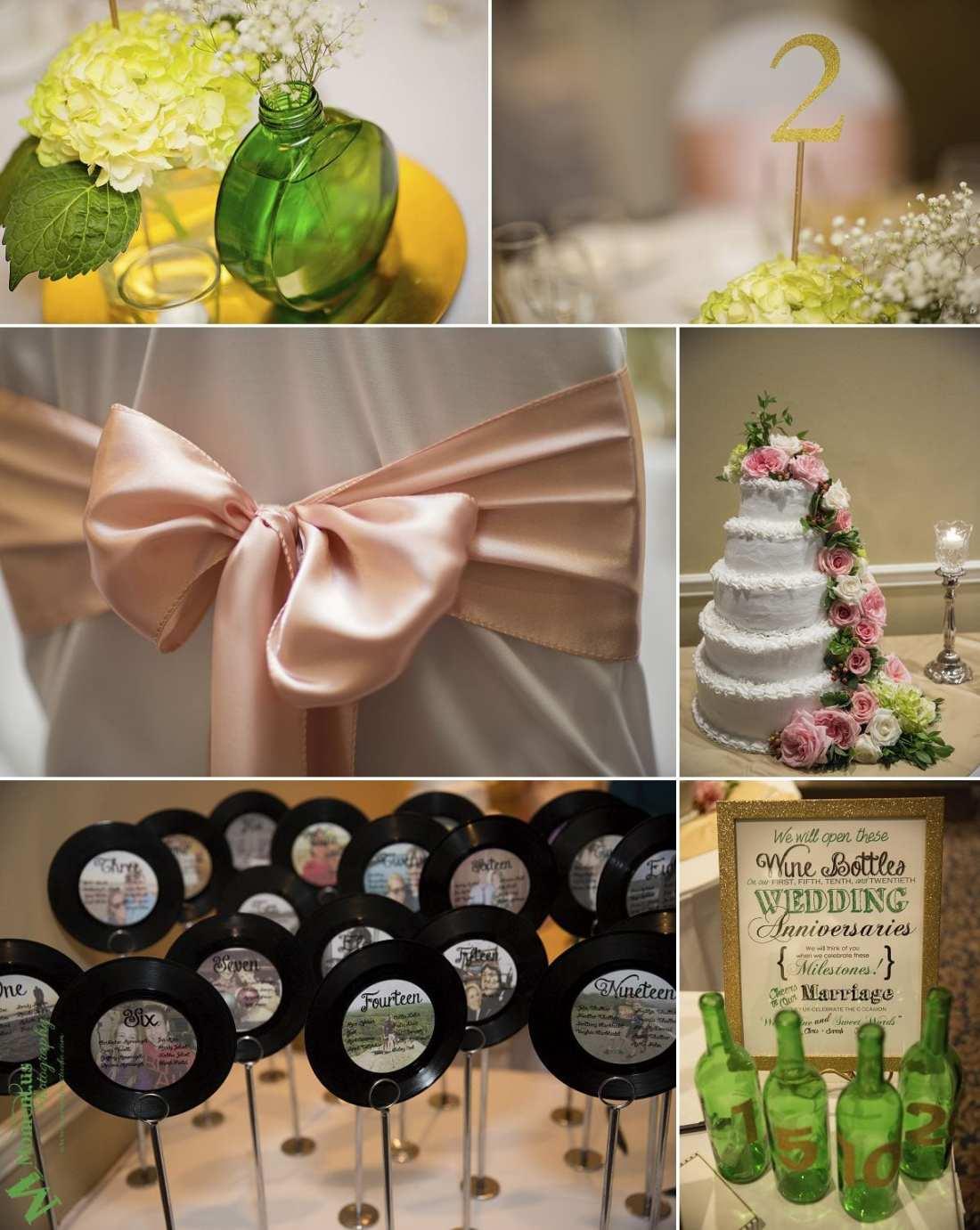 Elegant Cornwall wedding - green glass centrepiece