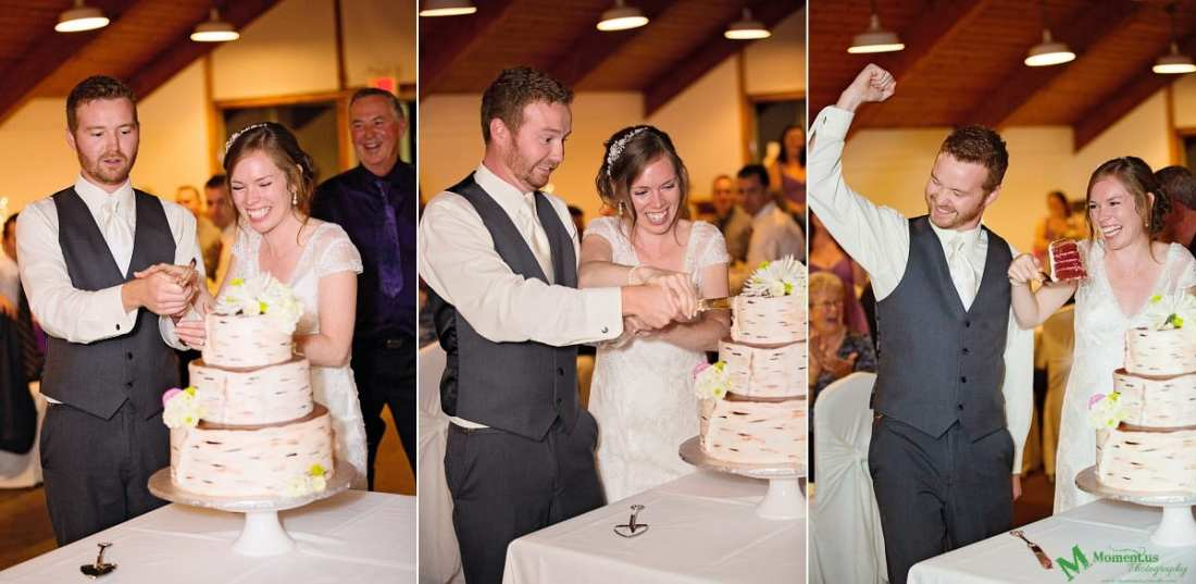 bride and groom cutting cake - Calabogie Peaks Wedding