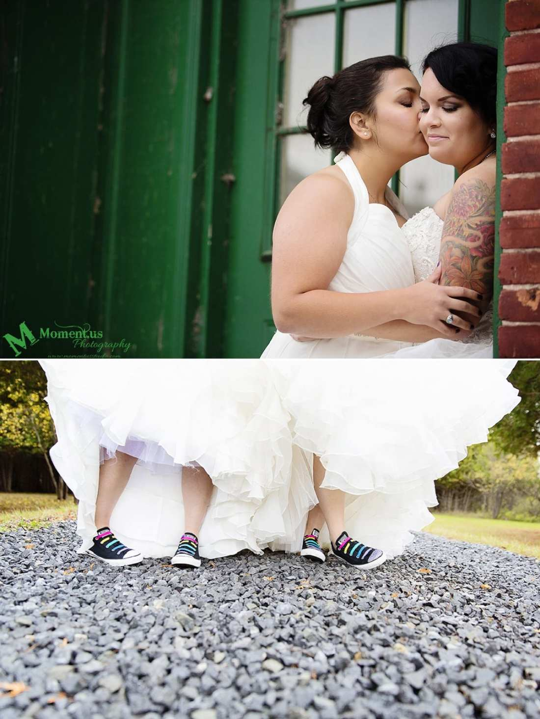 Alexandria wedding - two brides wearing Converse