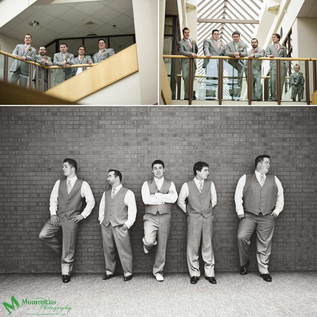 groom and ushers leaning on wall - Cornwall wedding photographer