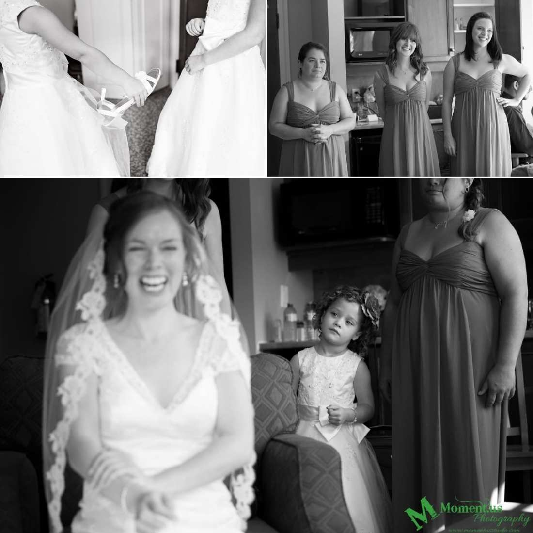 flower girl looking at laughing bride - Calabogie Peaks Wedding