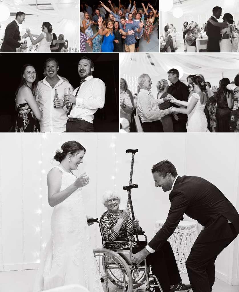 Cornwall international wedding photographer - grandma dancing with walking sticks