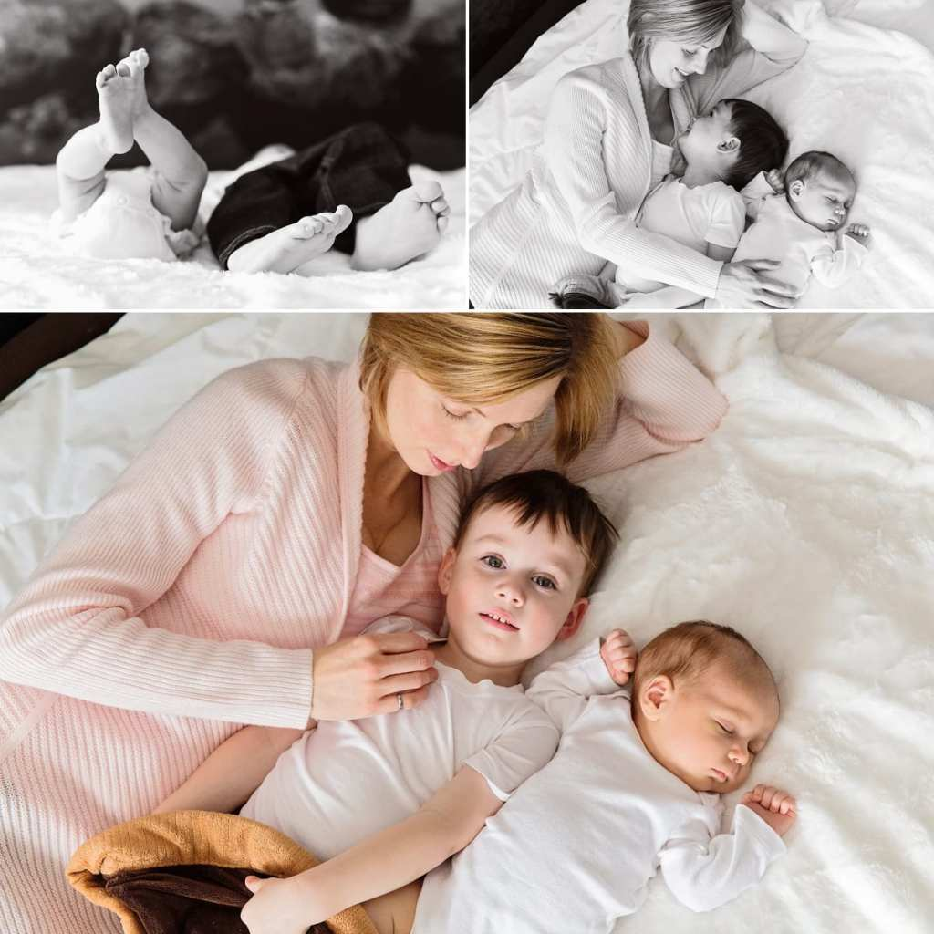Cornwall documentary family photographer - boys on bed with mom