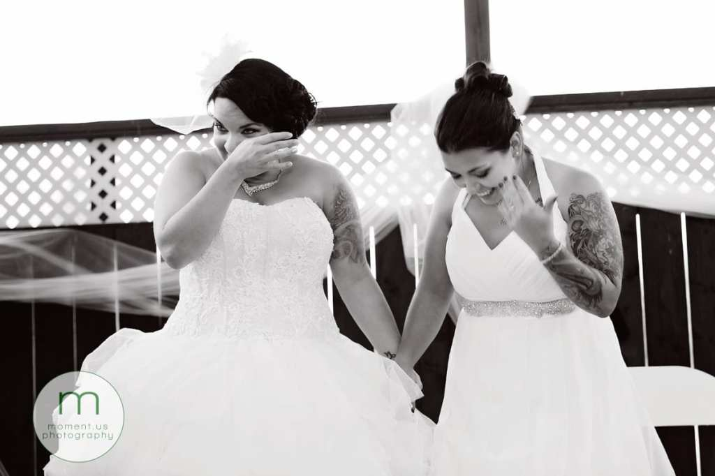 two crying brides