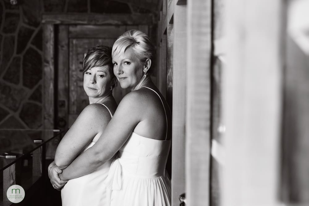 brides in cellar black and white