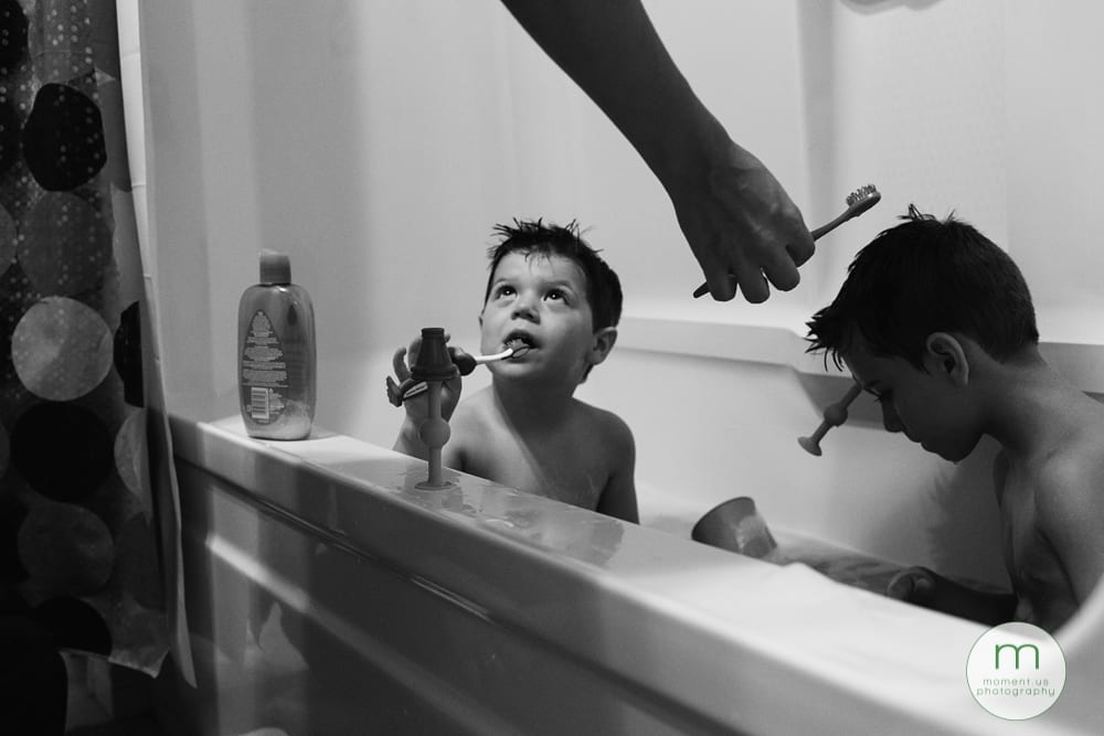 boys getting toothbrushes