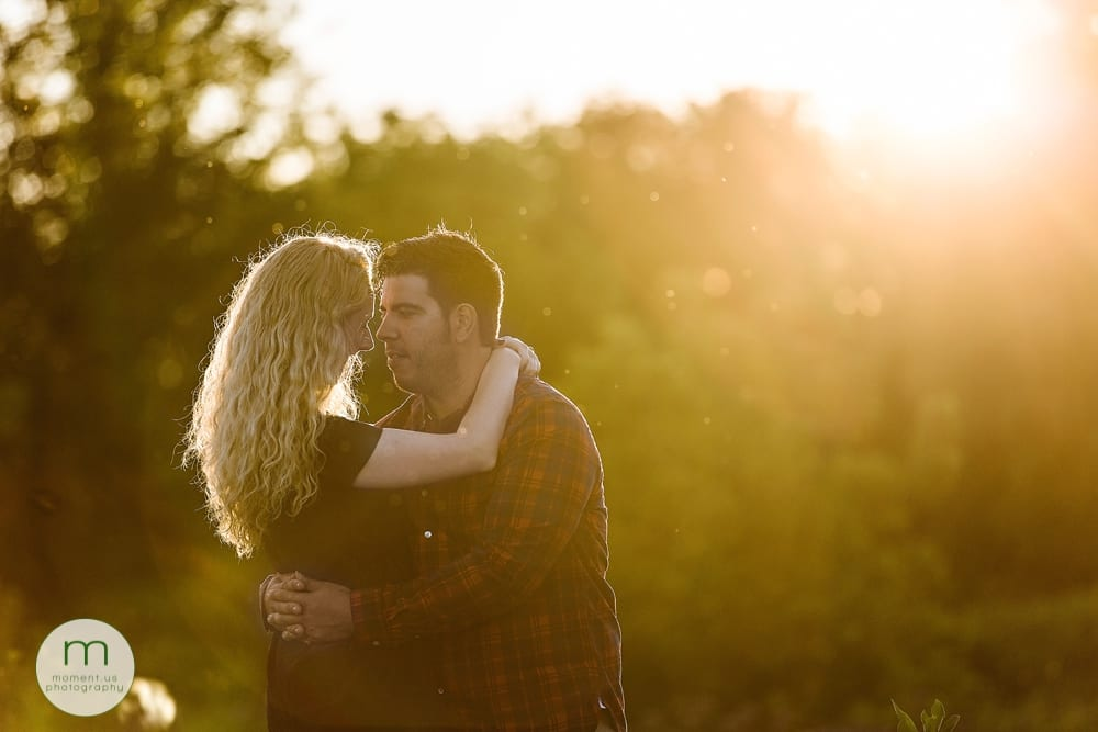 golden light on Cornwall engagement session